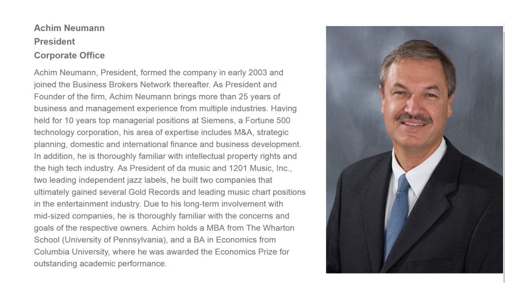 Achim Neumann from Neumann Associates Biography