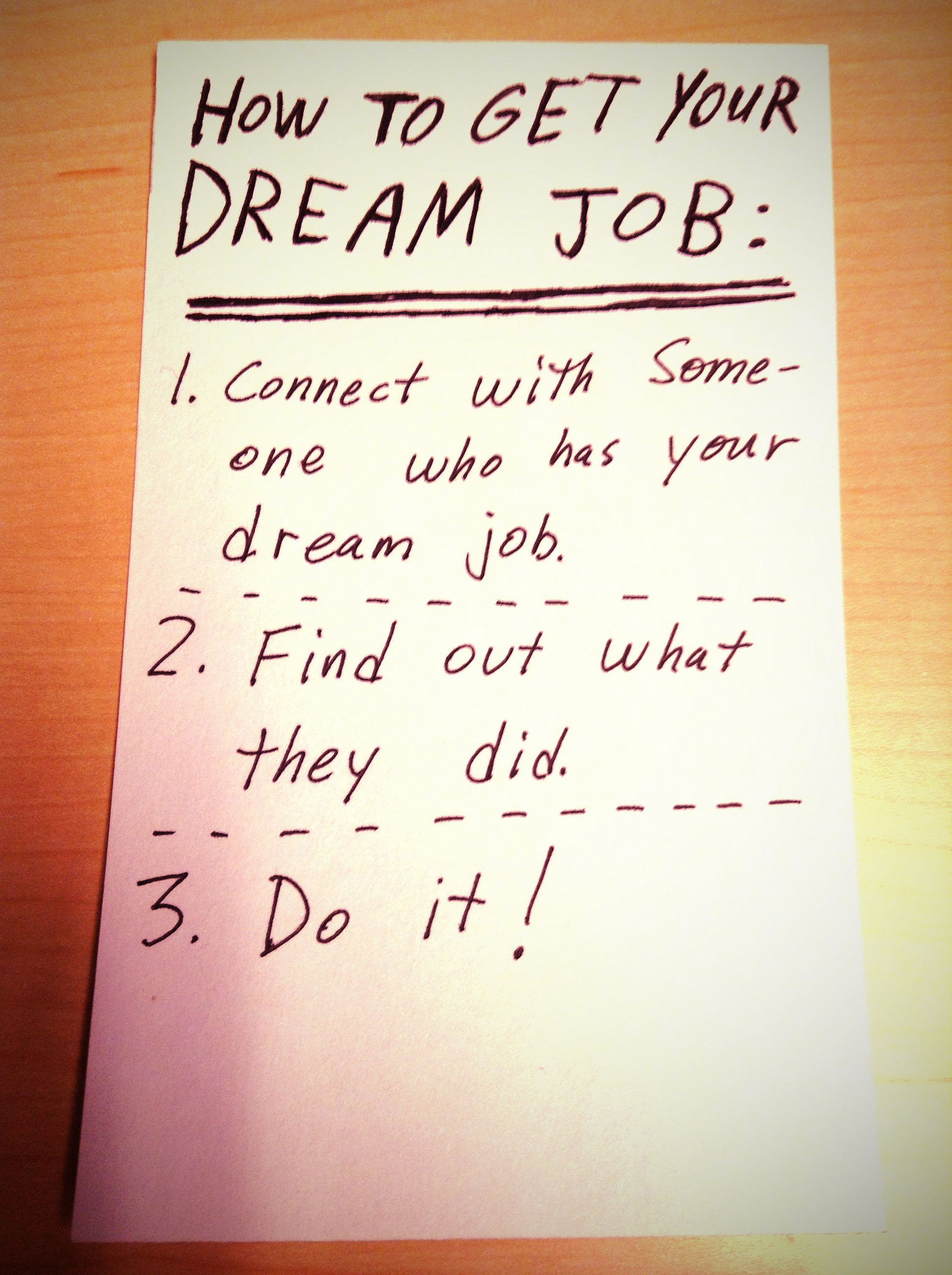 Getting your dream job may not be easy, but it's certainly possible ... photo by CC user Dannon Loveland on Flickr