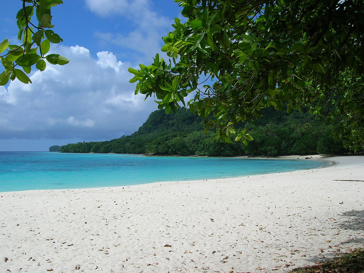 Champagne Beach in Vanuatu: a quick cruise from Australia ... photo by CC user Jae Lee on wikipedia.org