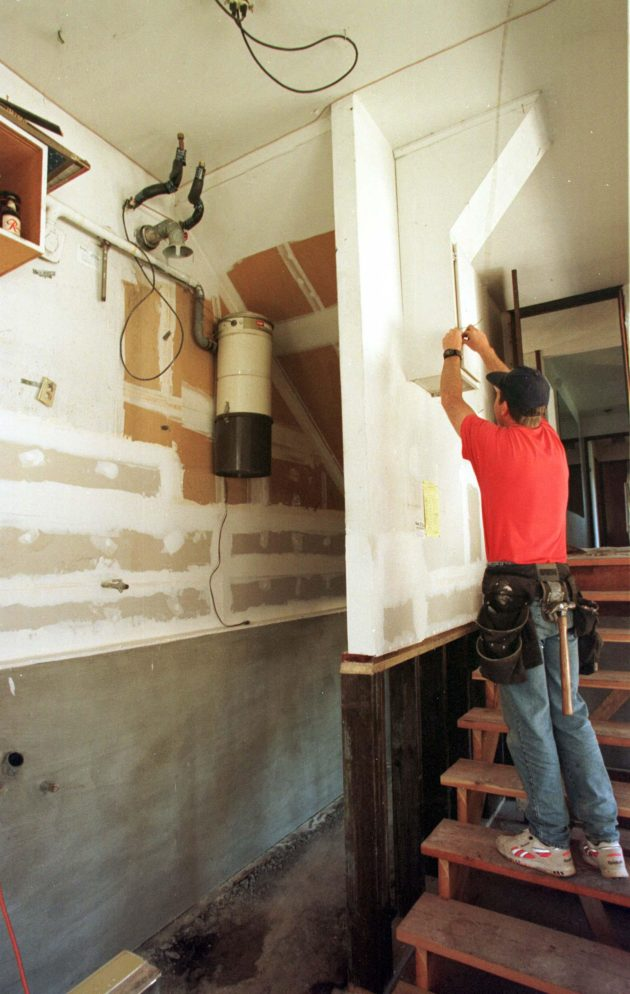FEMA Hazard Mitigation. Moving a water heater above ground level will help save the appliance and keep it working during a flood.  Photo by Dave Gatley/ FEMA News Photo
